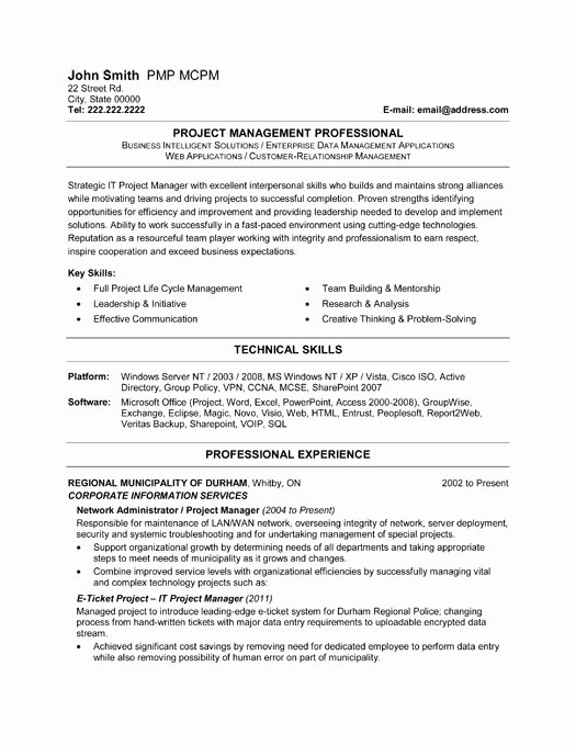 Objective It Project Manager Resume Sample with Technical