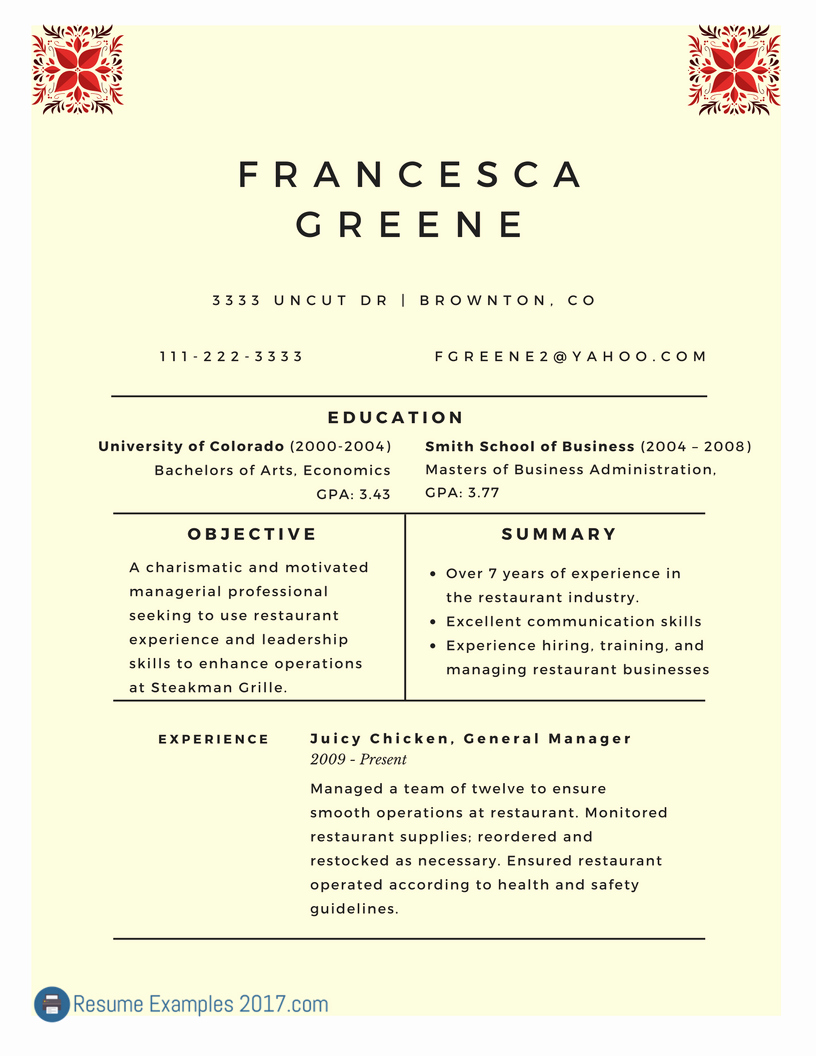 Objective Resume Examples