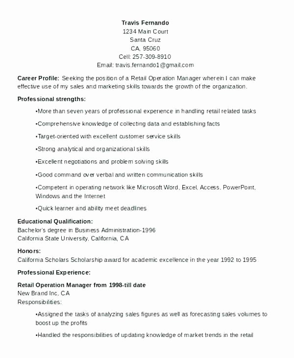 Objective Resume Template Retail Operation Manager Resume