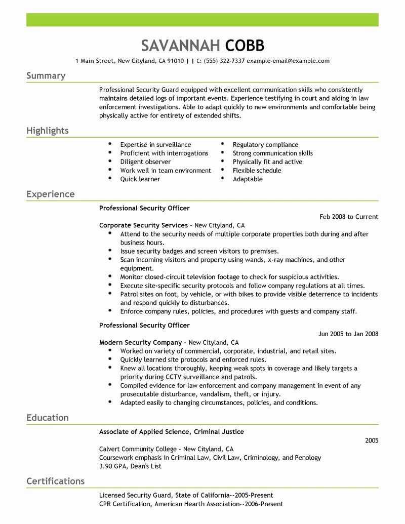 Objective Statement for Resume Security – Perfect Resume