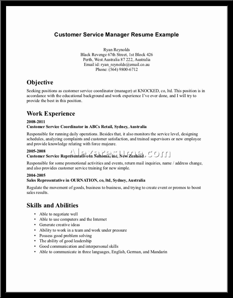 Objectives for Resume Customer Service Manager Job