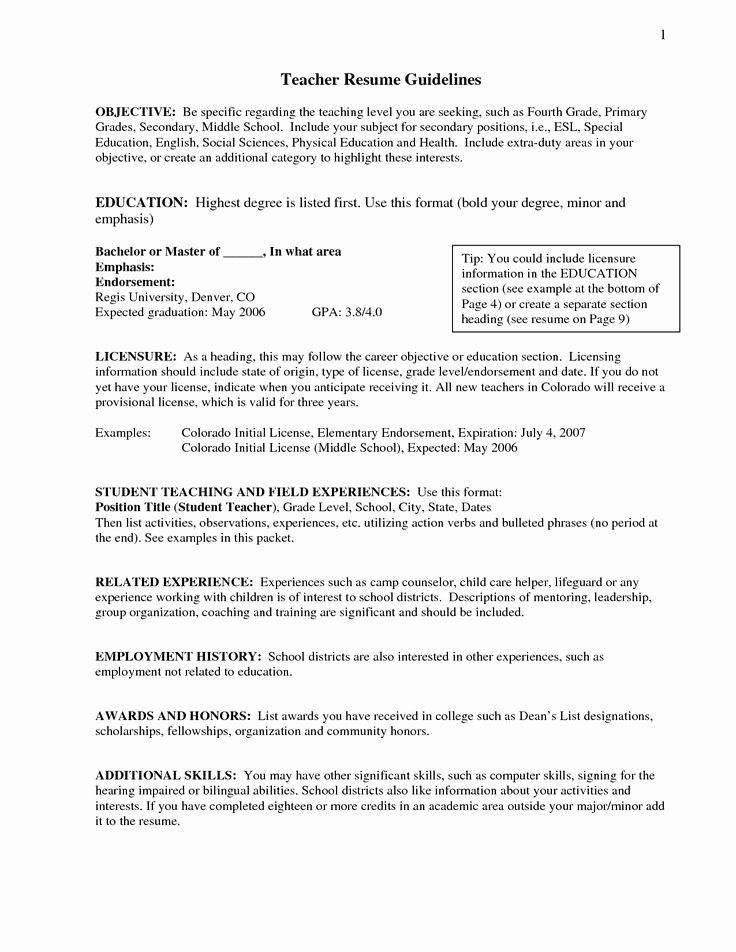 Objectives for Teacher Resume Best Resume Collection