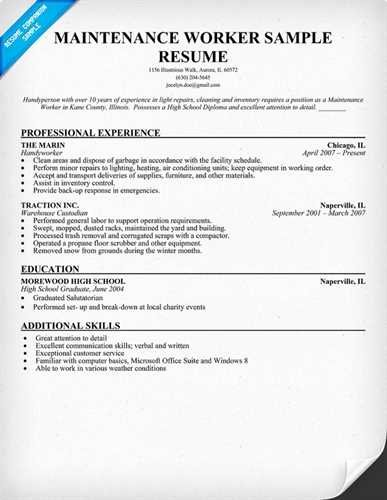 Objectives to Put On A Maintenance Job Resume