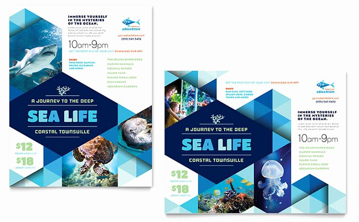 Ocean Aquarium Poster Template Design TR