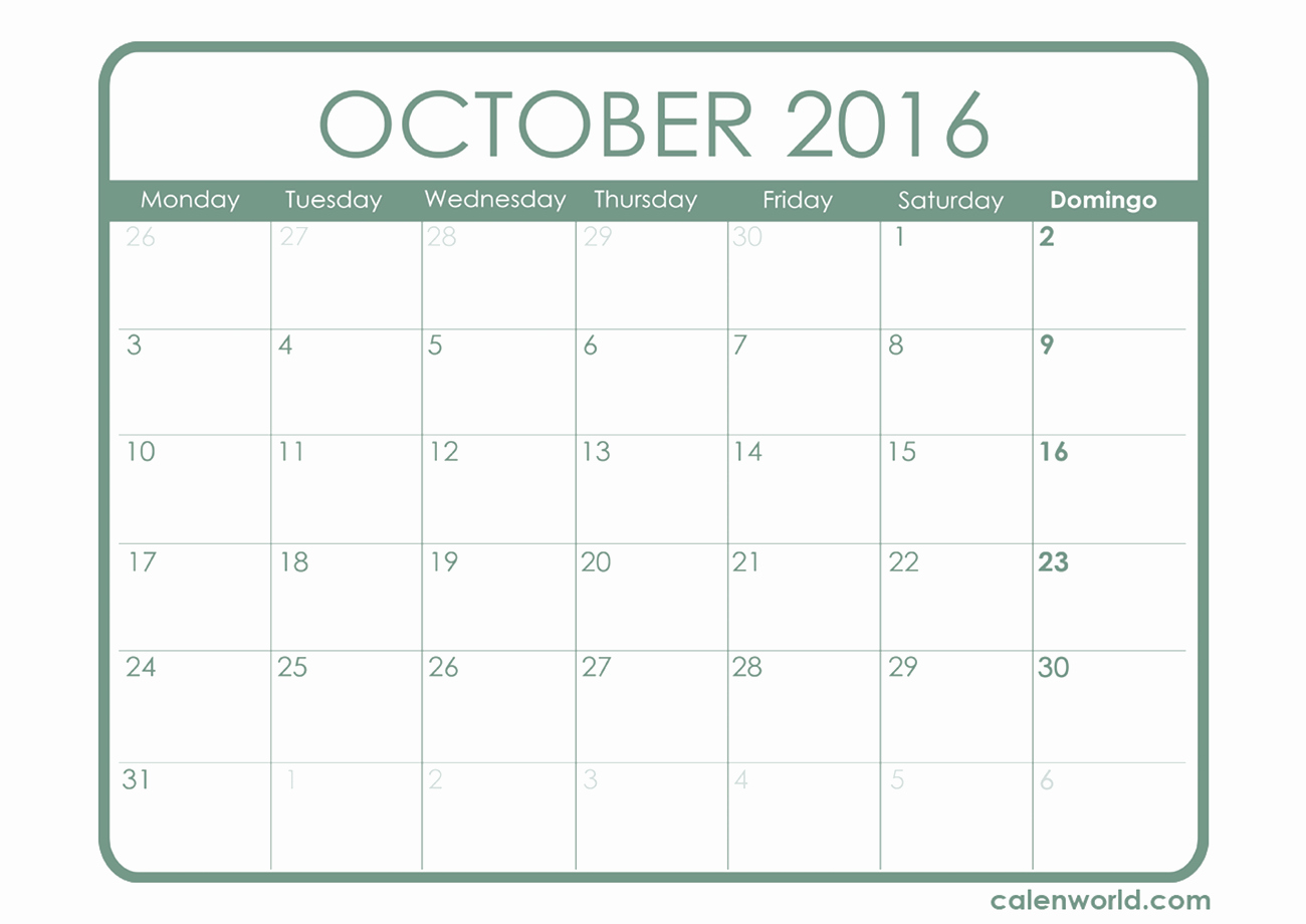 October 2016 Calendar Excel – 2017 Printable Calendar