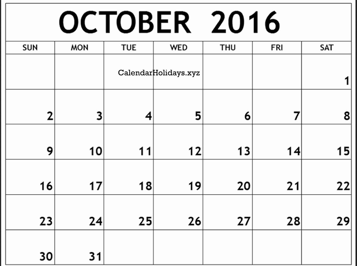 October 2016 Word Calendar Wordcalendar