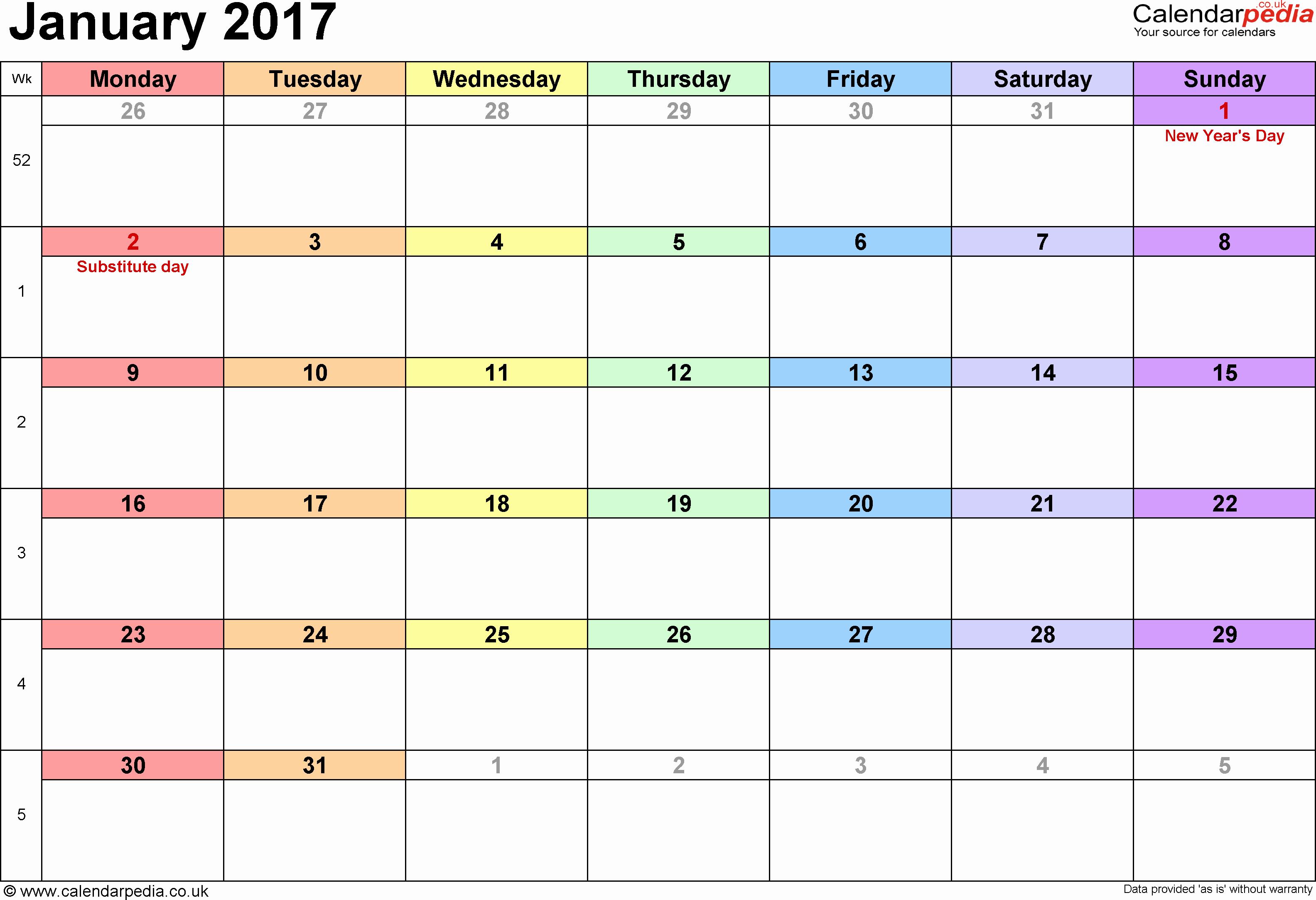 October 2017 Calendar Word