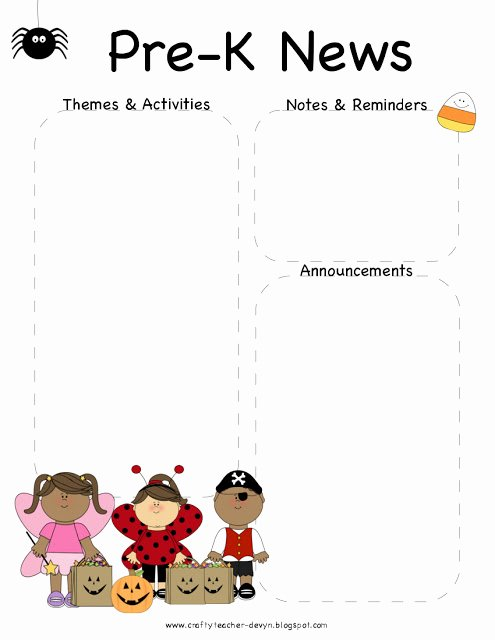 October Halloween Pre K Newsletter Template