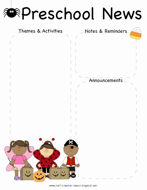 October Halloween Preschool Newsletter Template