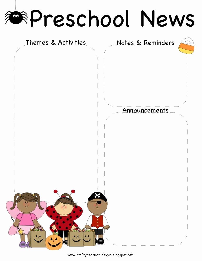 October Halloween Preschool Newsletter Template