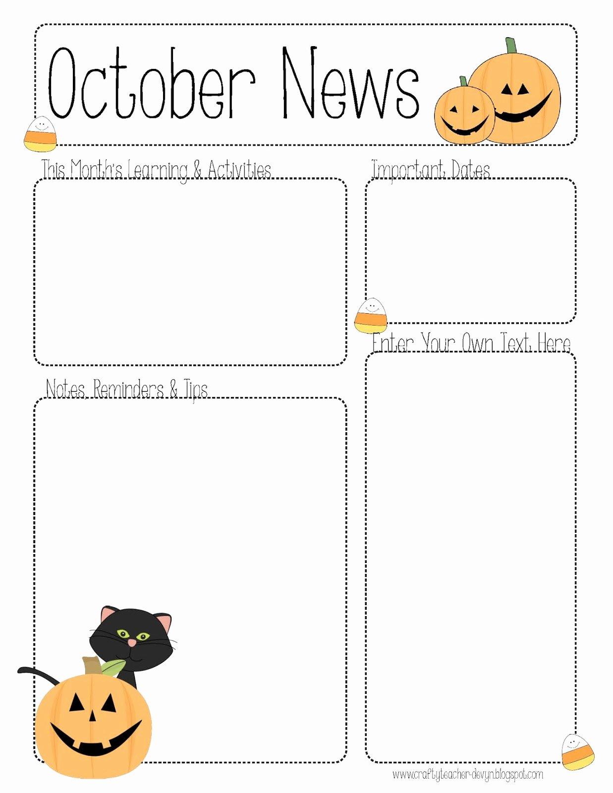 October Newsletter Template