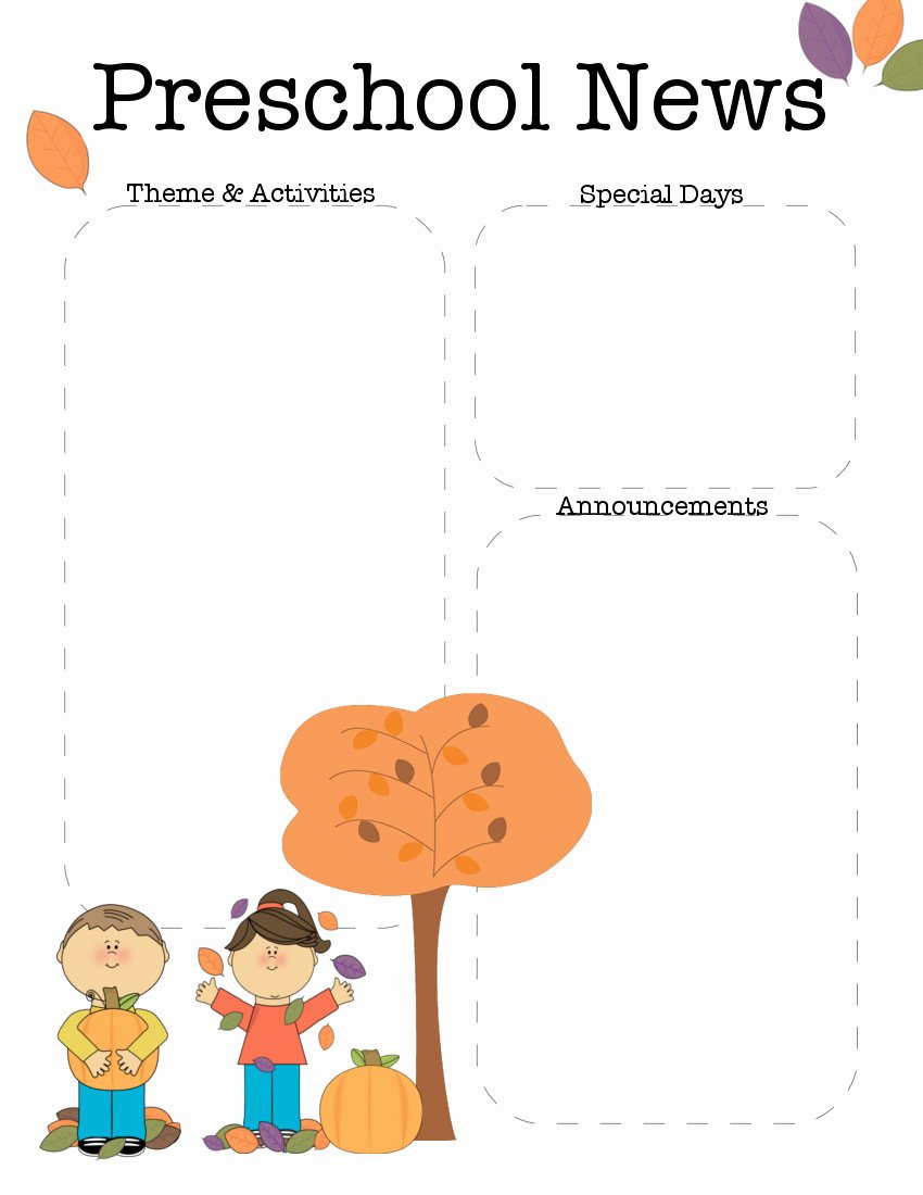 October Preschool Newsletter Template
