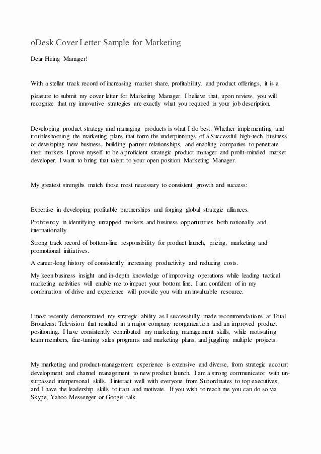 Odesk Cover Letter Sample for Marketing