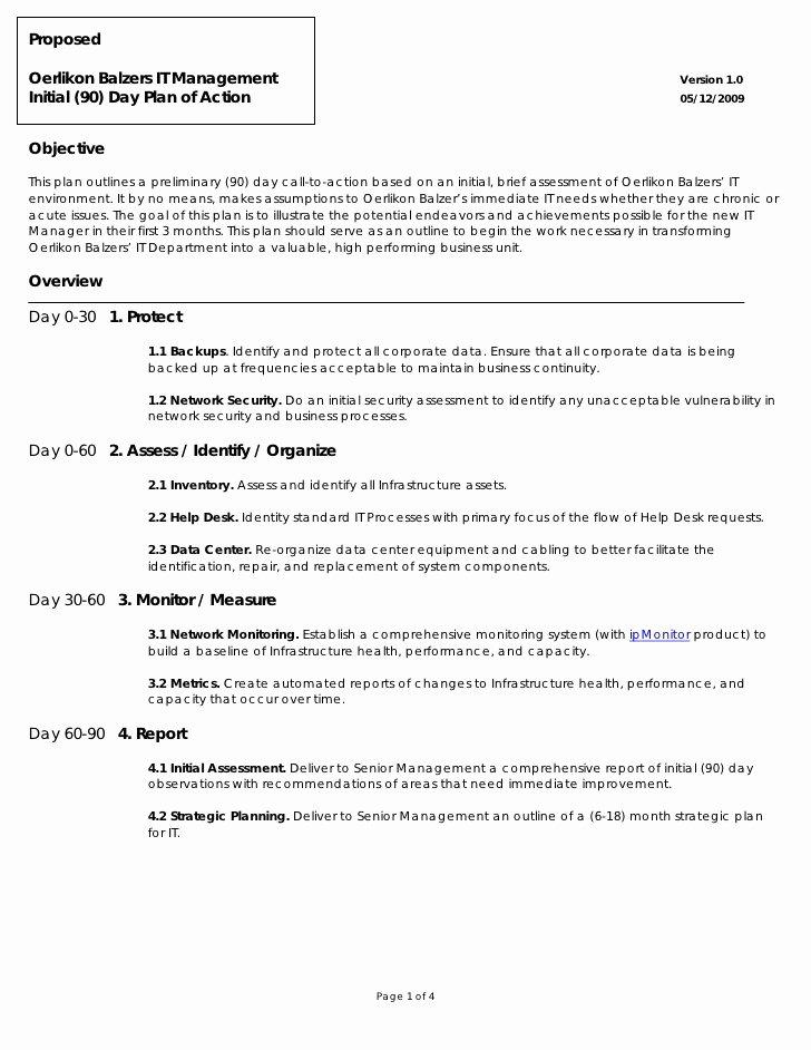 Oerlikon Balzers 90 Day Plan Action