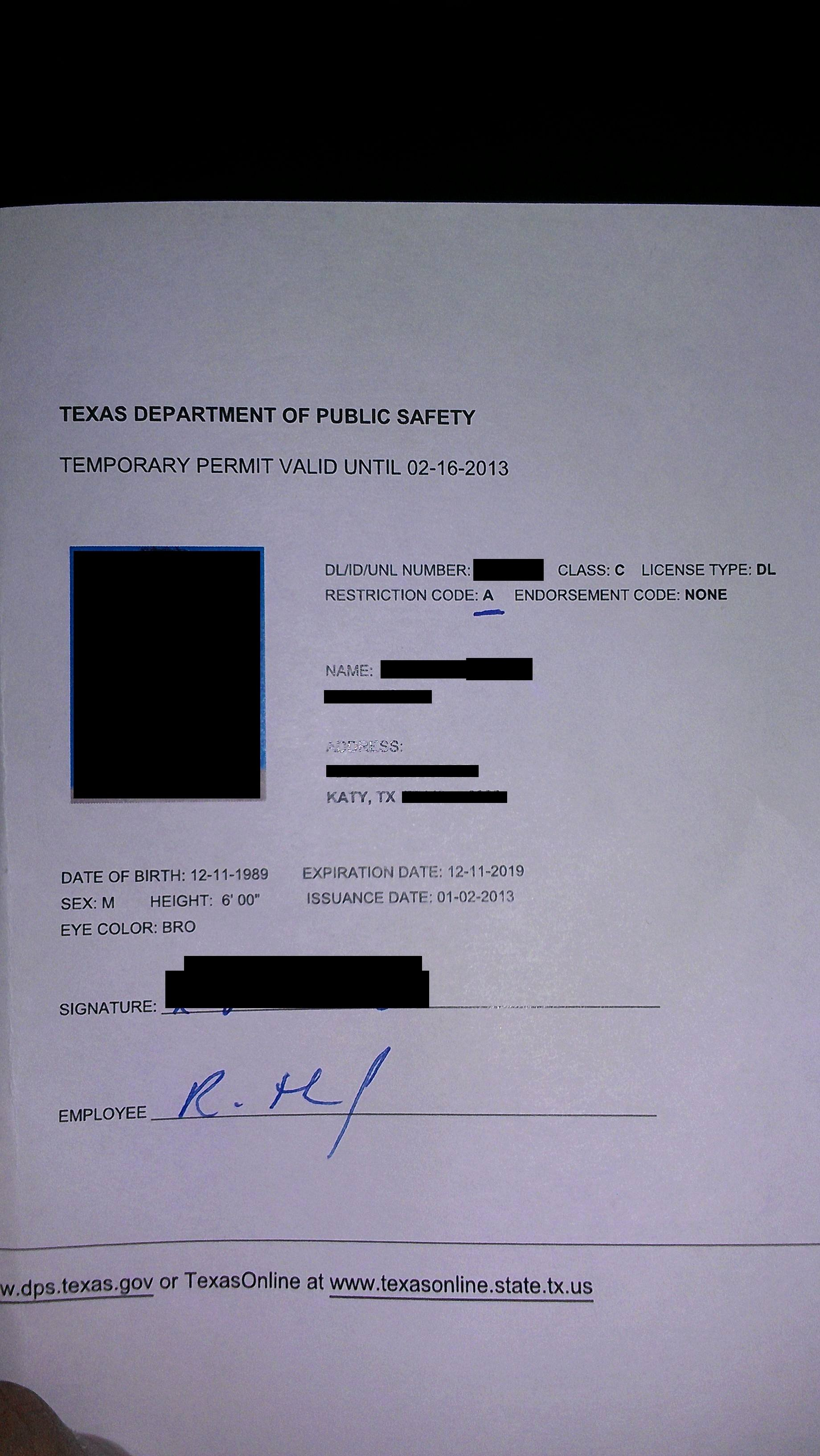 Ohio Bureau Motor Vehicles Temporary License