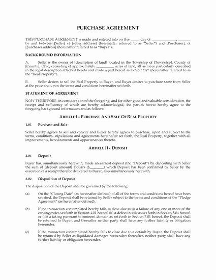 Ohio Land Purchase Agreement