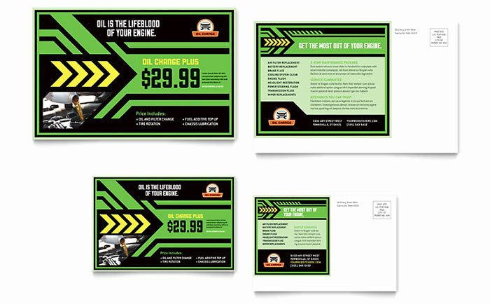 Oil Change Postcard Template Word & Publisher