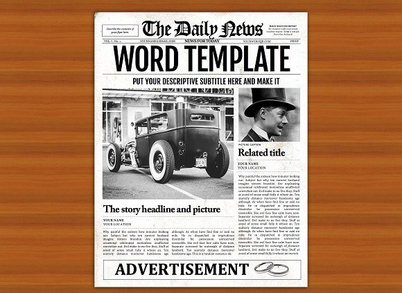 Old Style Word Newspaper Template Flyer Templates On
