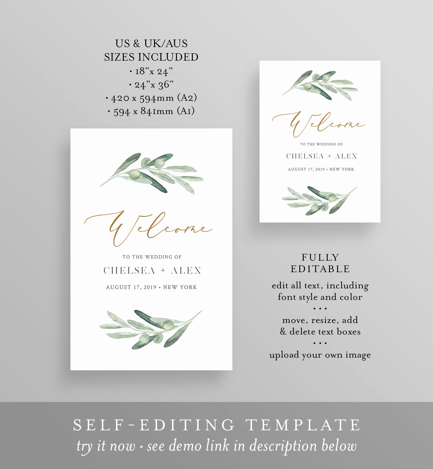 Olive Greenery Wel E Sign Template Wedding or Bridal