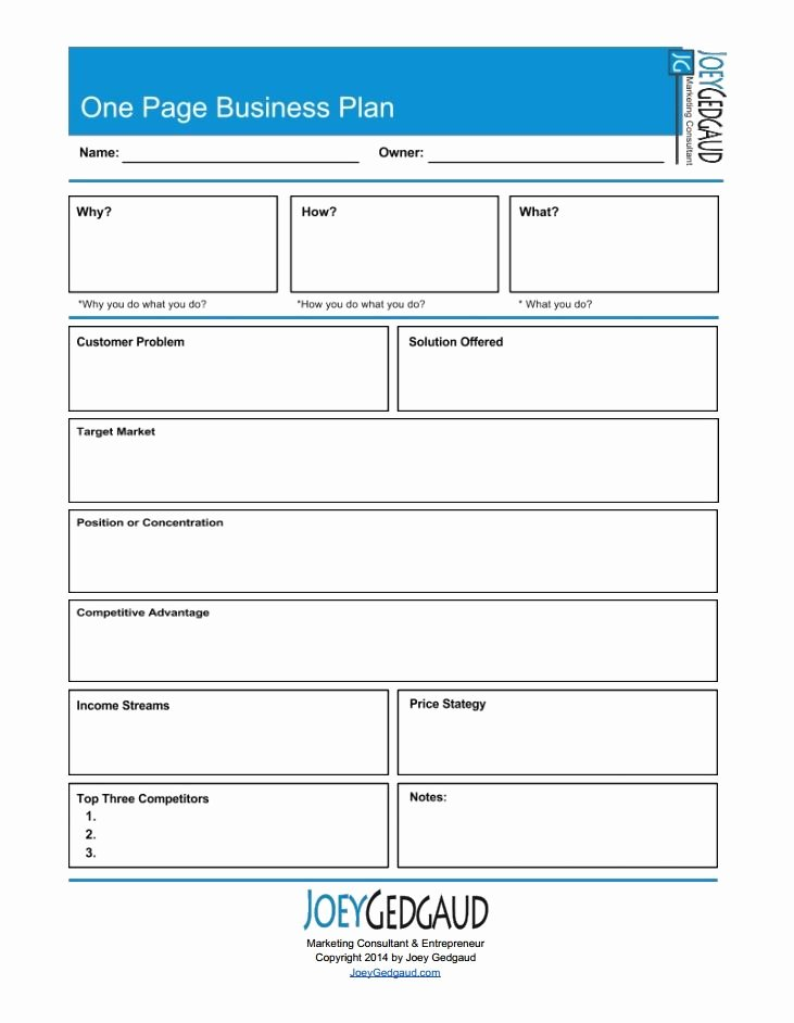 One Page Business Templates and Free S