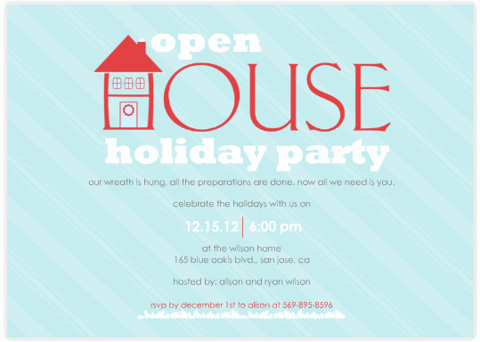 Open House Party Invitation Wording Family Open House