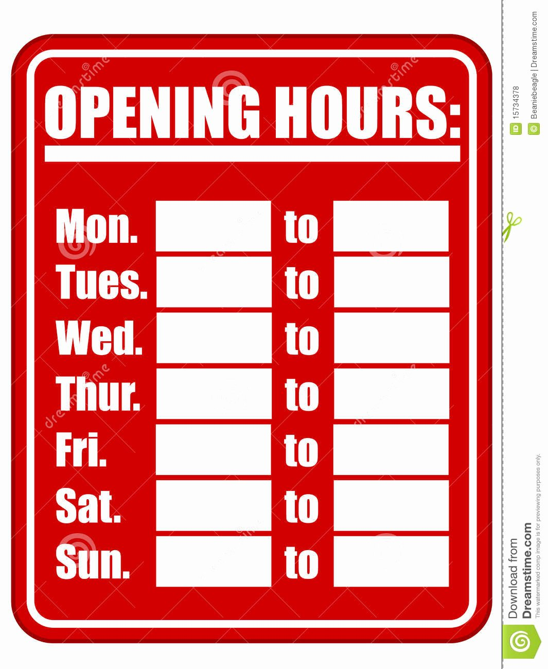 Opening Hours Sign Eps Stock Vector Illustration Of