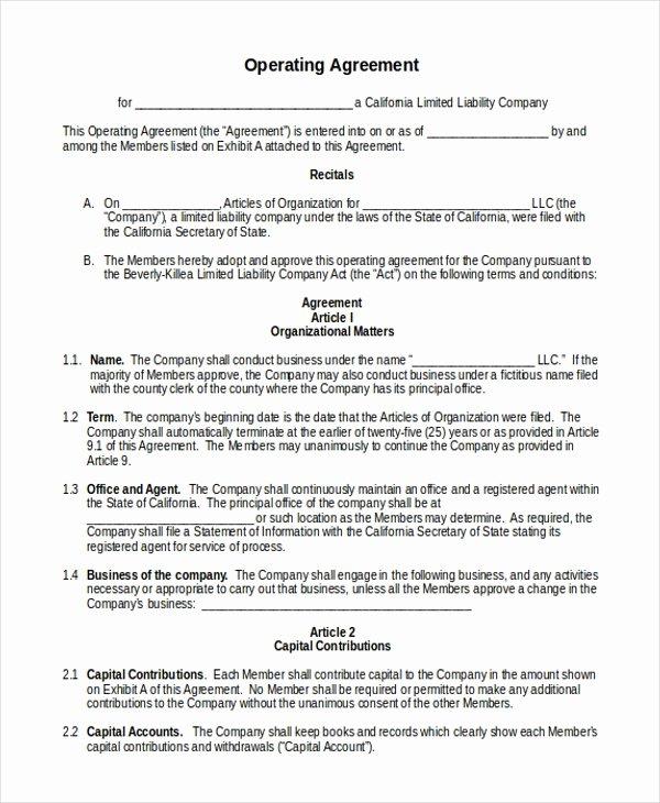Operating Agreement Llc California Template Operating