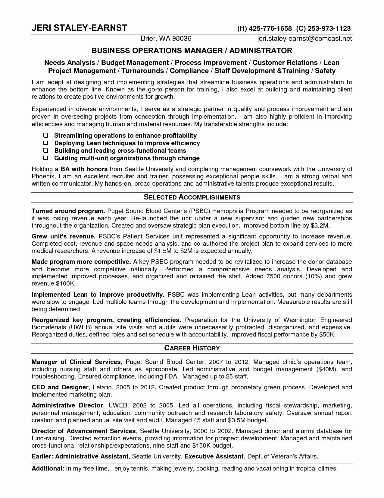 Operations Manager Resume Pdf Resume Ideas