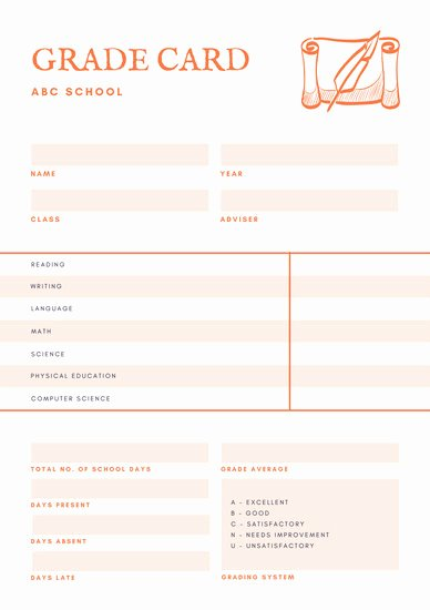 Orange and White Paper and Quill Middle School Report Card