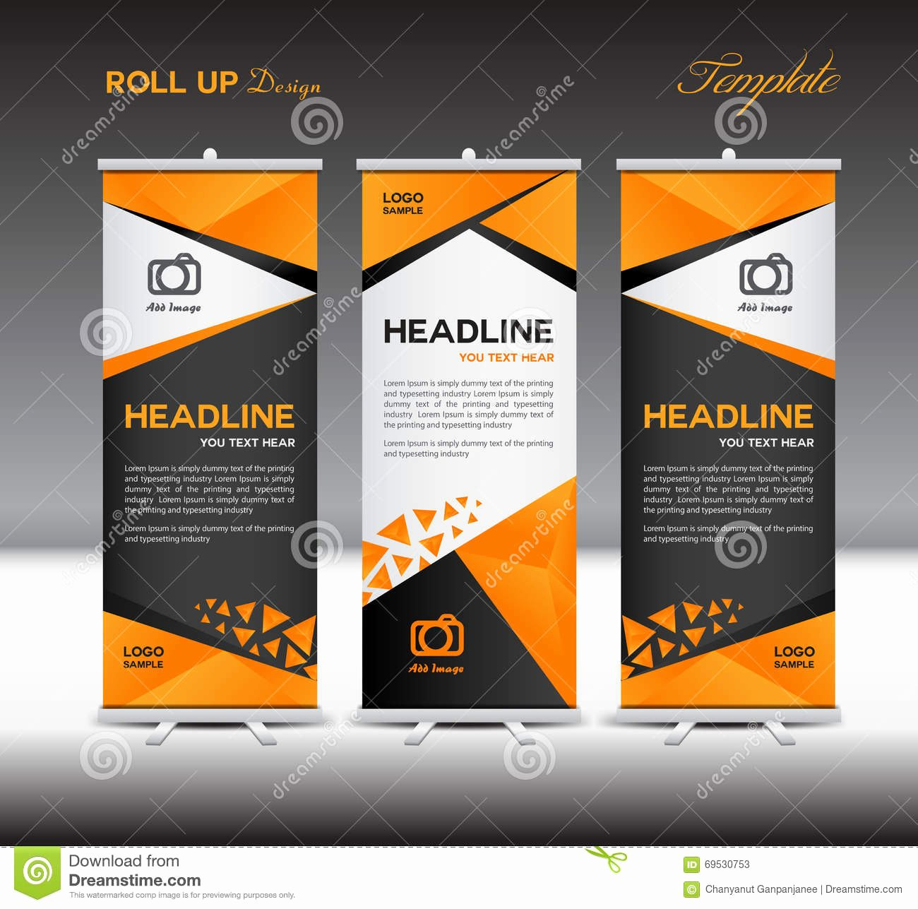Orange Roll Up Banner Template Vector Roll Up Stand
