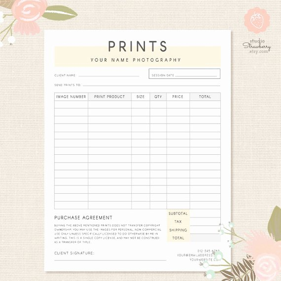Order form Template Graphy order form Graphy