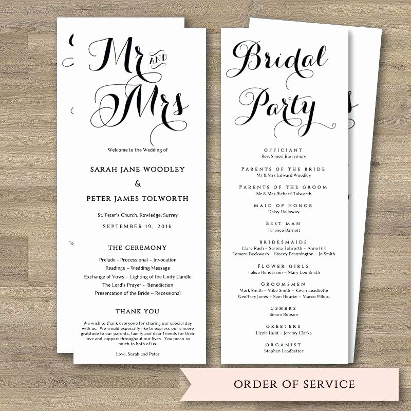 Order Service Wedding Template Free Download