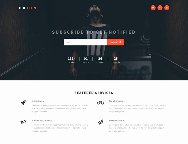 Orion – Free Bootstrap Ing soon Template Designstub
