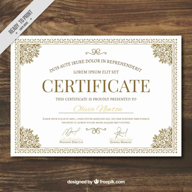 Ornamental Certificate Template Vector