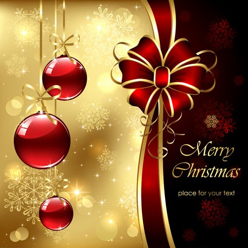 Ornate Golden Christmas Cards Vector Graphics 01 Free