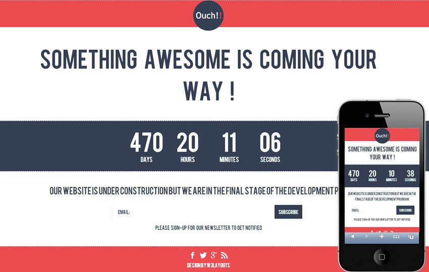 Ouch Under Construction Mobile Website Template by W3layouts