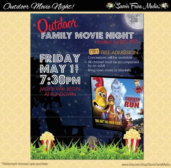 Outdoor Movie Night Flyer Movie On the Green Poster