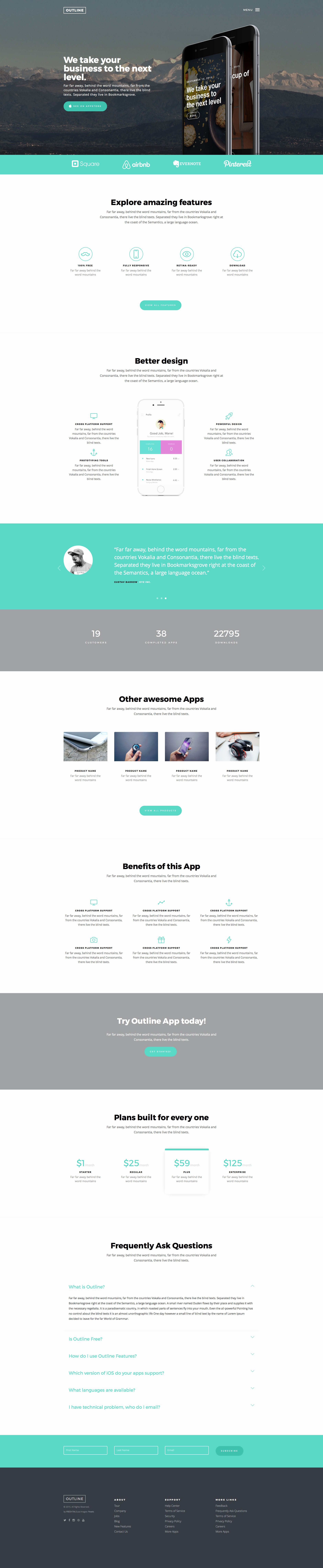 Outline Free Responsive HTML5 Bootstrap App Template
