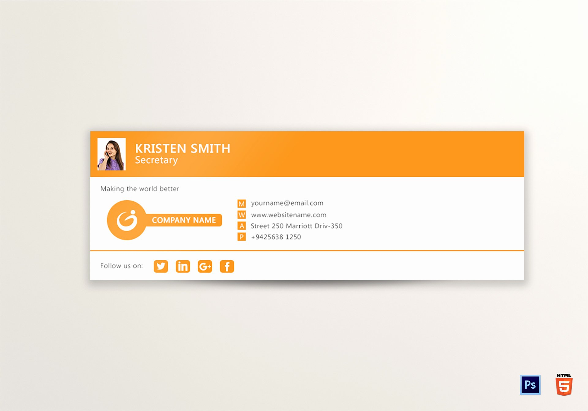 Outlook Email Signature Design Template In Psd HTML