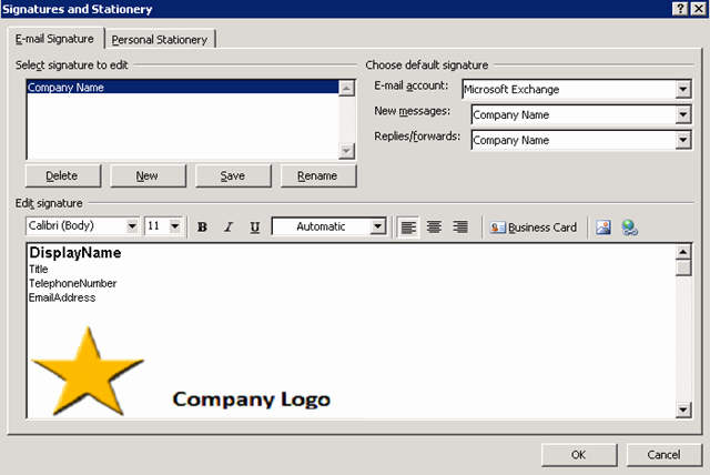 Outlook Signature Based On User Information From Active
