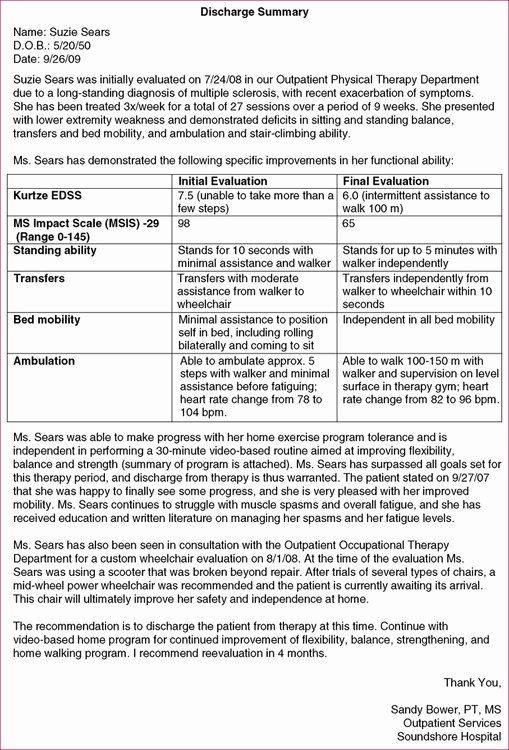 Outpatient Physical therapy Discharge Summary Template
