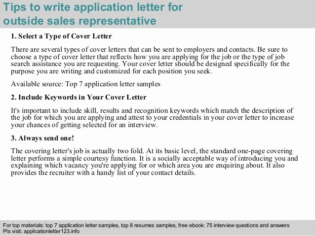 Outside Sales Representative Application Letter
