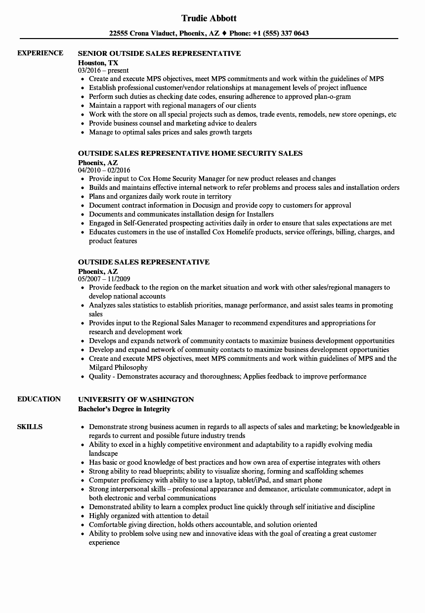 Outside Sales Representative Resume Samples