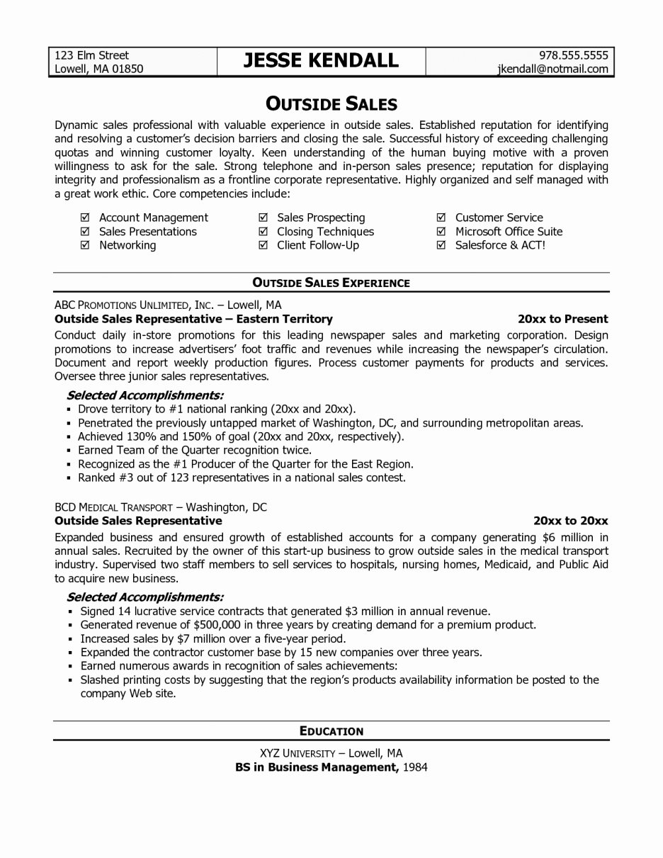 Outside Sales Resume Template