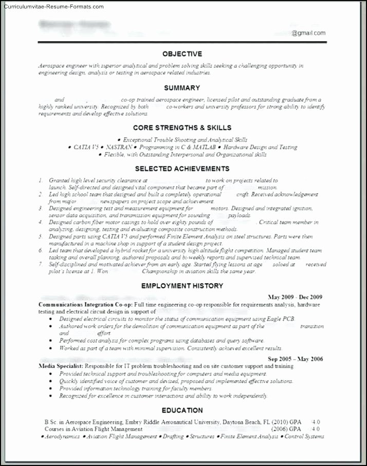 Outstanding Aircraft Maintenance Engineer Curriculum Vitae