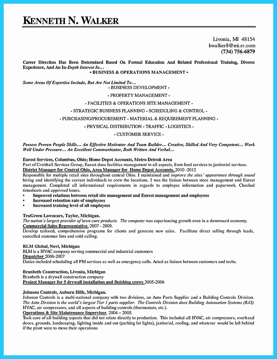 Property Manager Resume Objective – Latter Example Template