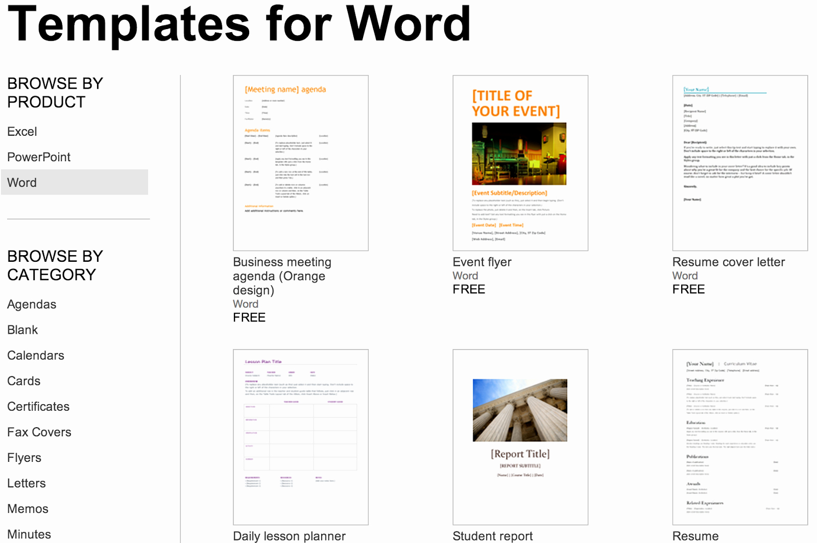 Over 250 Free Microsoft Fice Templates & Documents
