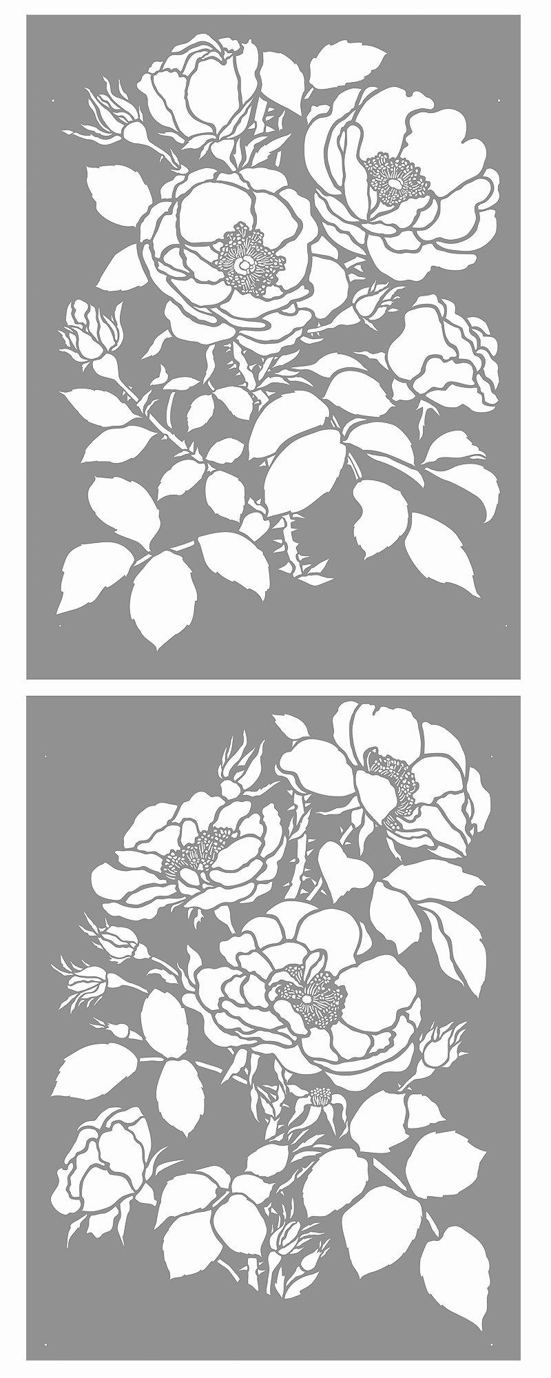 Oversize Wild Rose Stencil Henny Donovan Motif