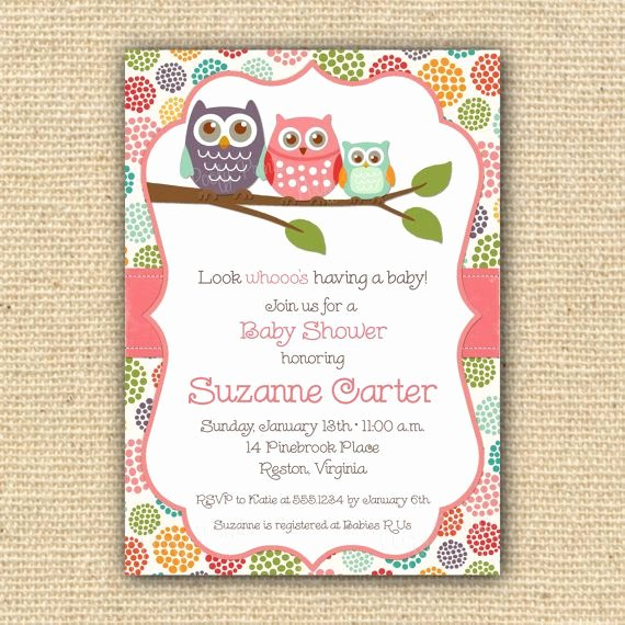 Owl Baby Shower Invitations Diy Printable Baby Girl