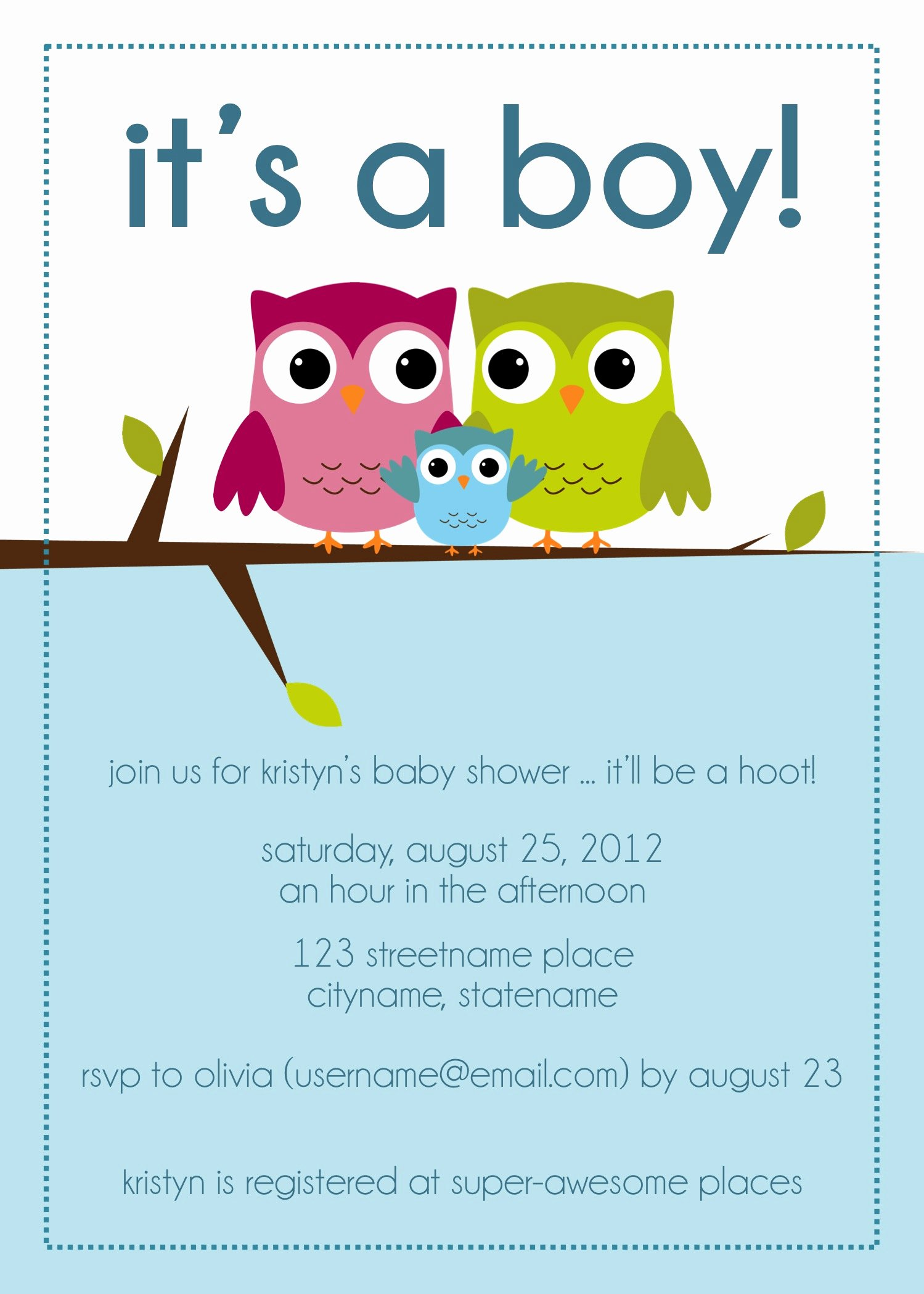 Owl Baby Shower Invitations Image